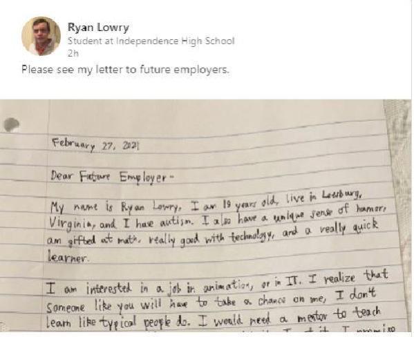 ABD'li otizmli gencin iş başvurusu için yazdığı mektup viral oldu